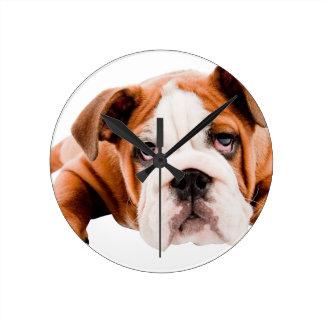 DOGS, PETS BULLDOG CUTE ADORABLE DIGITAL REALISM P ROUND CLOCK