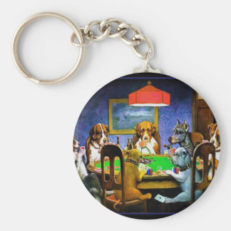 Dogs Playing a Game of Poker Keychain