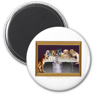 Dogs Playing Beer Pong Magnet