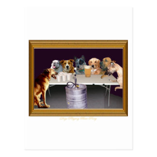 Dogs Playing Beer Pong Postcard