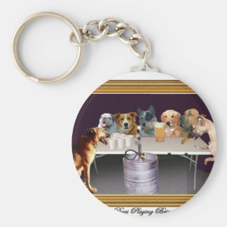 Dogs Playing Beirut Basic Round Button Keychain