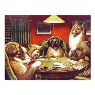 Dogs Playing Cards postcard