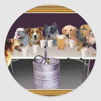 Dogs Playing   Classic Round Sticker