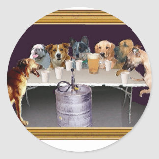 Dogs Playing Flip Cup Classic Round Sticker