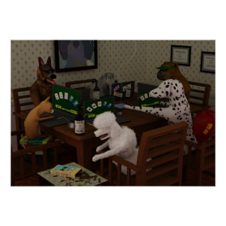 Dogs playing online poker poster