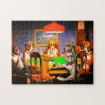 "Dogs Playing Poker A Friend In Need Jigsaw Puzzle<br><div class=""desc"">Dogs Playing Poker(A Friend In Need) was painted in 1903 by Cassius Marcellus Coolidge. Maybe the most famous of his paintings, it shows seven dogs sitting around a table playing poker in the wee morning hours of the morning.It derives its name from the bulldog handing an ace under the table...</div>"