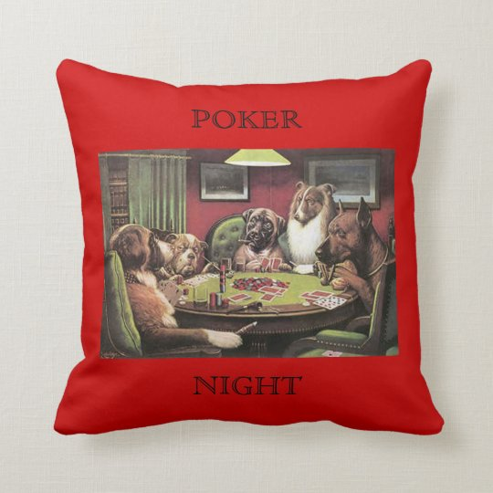 Dogs Playing Poker Bold Bluff C. M. Coolidge Red Throw Pillow