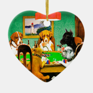 Dogs Playing Poker Ceramic Ornament