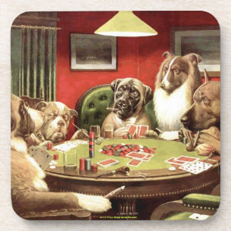 Dogs Playing Poker Coasters Coaster Set