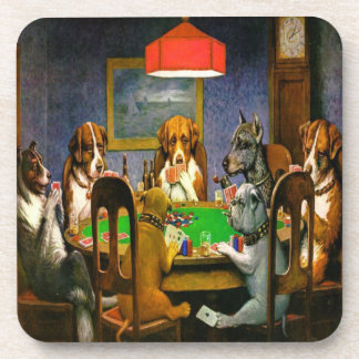 Dogs Playing Poker Cork Coasters Set 1