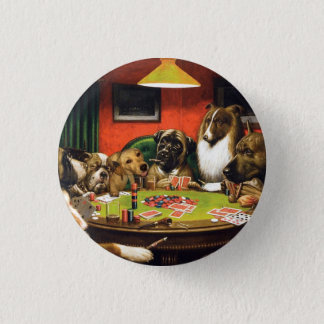 Dogs playing poker - funny dogs -dog art button