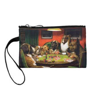 Dogs playing poker - funny dogs -dog art change purse