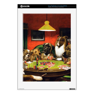 Dogs playing poker - funny dogs -dog art decal for PS3 console