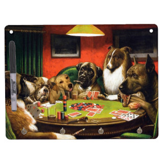 Dogs playing poker - funny dogs -dog art dry erase board with keychain holder