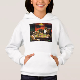 Dogs playing poker - funny dogs -dog art hoodie