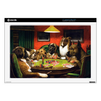 Dogs playing poker - funny dogs -dog art laptop decals