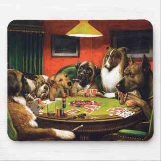 Dogs playing poker - funny dogs -dog art mouse pad