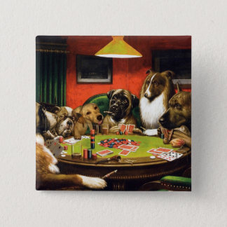 Dogs playing poker - funny dogs -dog art pinback button