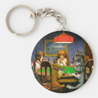 Dogs Playing Poker Keychain