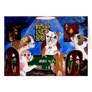 DOGS PLAYING POKER QUAD ACES CARD
