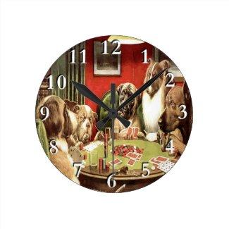 Dogs Playing Poker Wall Clock