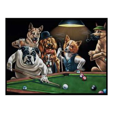 CueTees Dogs Playing Pool - Bulldog Up Poster