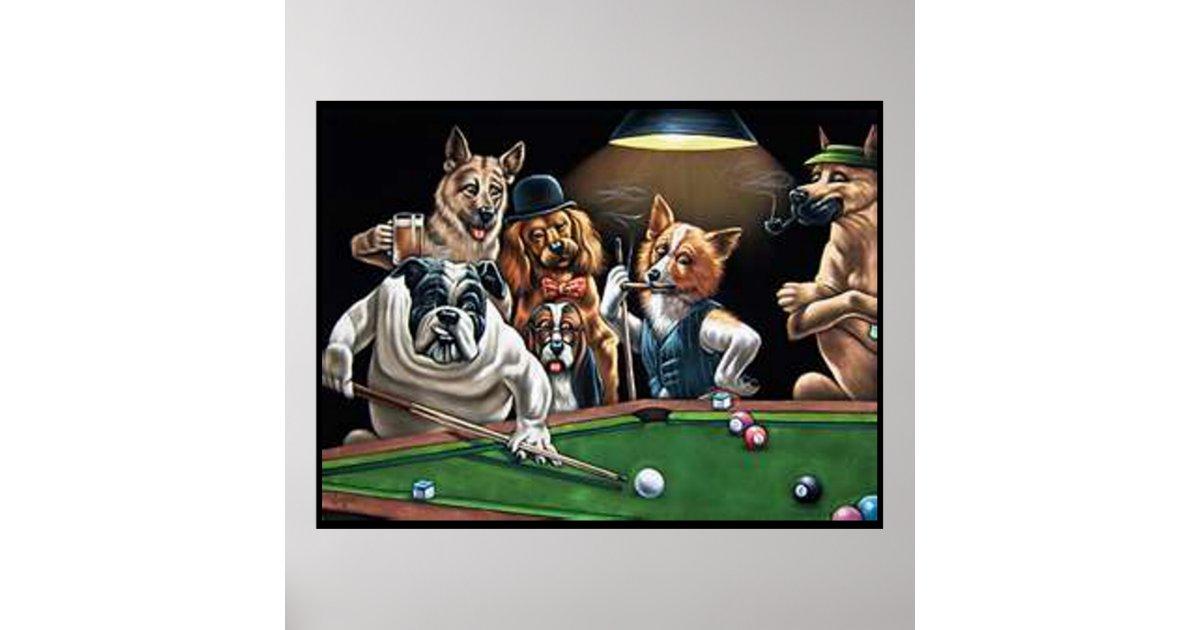 Dogs Playing Pool Bulldog Up Poster Zazzle
