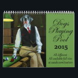 """Dogs Playing Pool Calendar<br><div class=""""desc"""">Personalize your own printed calendar on Zazzle.com. Click the Customize button to insert your art, designs, or picture to create a one of a kind printed calendar! Try adding text using professional fonts &amp; see a preview of your creation. Zazzle&#39;s simple to personalize printed calendar has no minimum orders &amp;...</div>"""