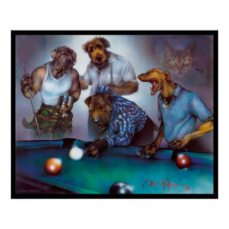 Dogs Playing Pool - Dan Mc Manus Poster