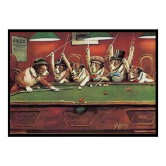 Dogs Playing Pool - Discussing the Shot Poster