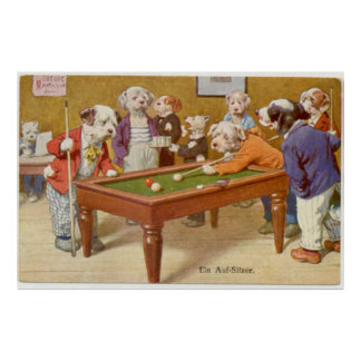 Dogs Playing Pool - Ein Aufsitzen Print