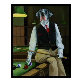 Dogs Playing Pool - Great Dane Poster