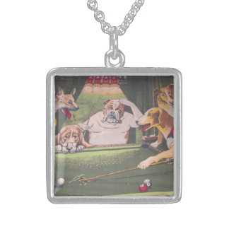 dogs playing pool jewelry necklace
