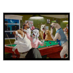 Dogs Playing Pool - Scratched at Dawn Posters