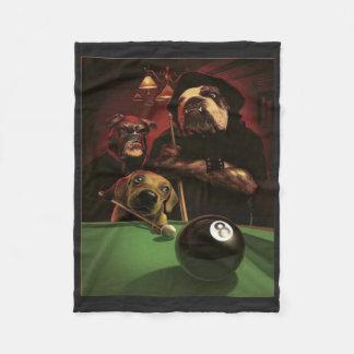 Dogs Playing Pool - The Eight Ball Fleece Blanket