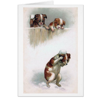 """""""Dogs playing Snowballs"""" Vintage Card"""