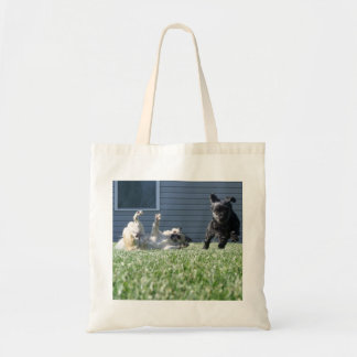 Dogs Playing Totebag Bags