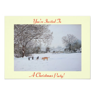 dogs playing winter snow scene landscape painting card