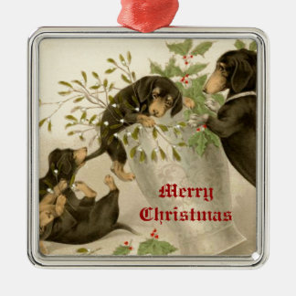 Dogs playing with Christmas mistletoe & holy berry Metal Ornament