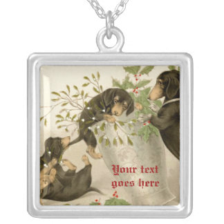 Dogs playing with Christmas mistletoe & holy berry Custom Necklace