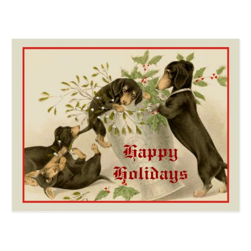 Dogs playing with Christmas mistletoe & holy berry Post Card