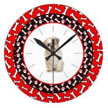 Dog's Portrait Dog Bone Frame Large Clock