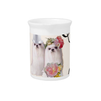 Dogs portrait in the wedding ceremony with music drink pitcher