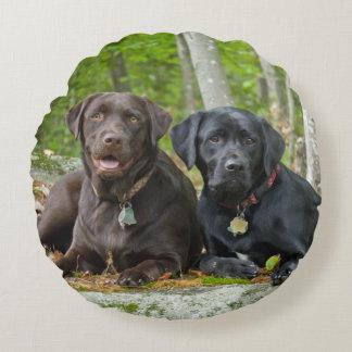 Dogs Puppies Black Lab Chocolate Labrador Retrieve Round Pillow