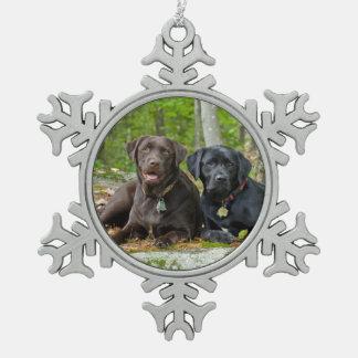 Dogs Puppies Black Lab Chocolate Labrador Retrieve Snowflake Pewter Christmas Ornament