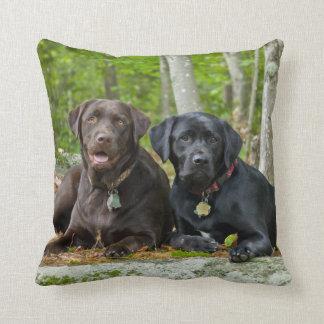 Dogs Puppies Black Lab Chocolate Labrador Retrieve Throw Pillow