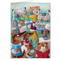 restaurant, artsprojekt, dog restaurant, illustration dogs, dog, bone, pet, animal, dog meal, children illustration, cartoon, dogs cafe, meal, kids illustration, dogs meal, dogs bowl, pets, pets restaurant, Cartão com design gráfico personalizado