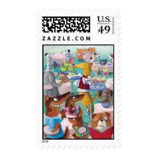 Dogs Restaurant Postage Stamp