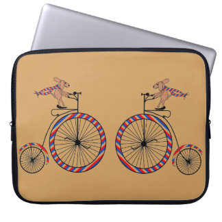 Dogs Riding Old-Fashioned Bikes on Laptop Sleeve