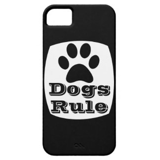 Dogs Rule Paw Print Black and White iPhone 5 Case